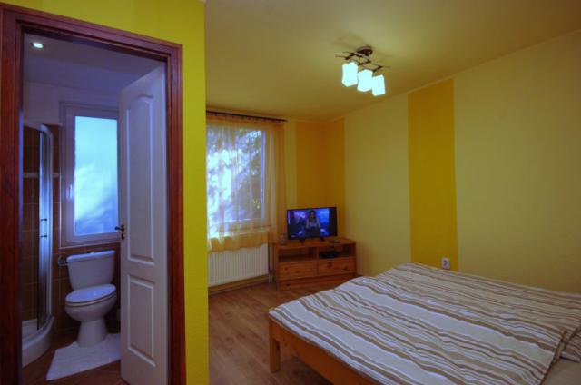 Nyári szoba a hozzá tartozó fürdővel és LED TV-vel a gyulai Bodza apartmanban